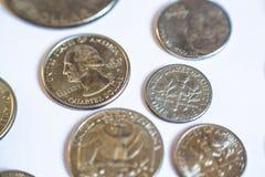 Monedas americanas Algunos son viejos histórico Fotos de archivo