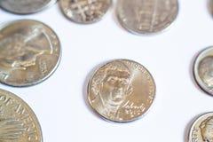 Monedas americanas Algunos son viejos histórico Imagen de archivo libre de regalías