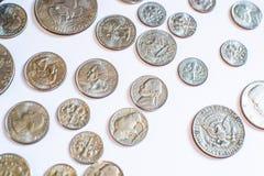Monedas americanas Algunos son viejos histórico Fotografía de archivo libre de regalías