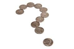 Monedas americanas cuartas que forman un sig del signo de interrogación Fotos de archivo libres de regalías