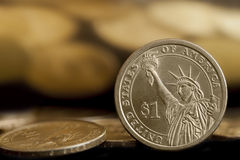 Monedas americanas del dólar Foto de archivo