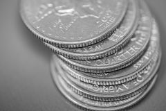 Monedas americanas del dinero Fotos de archivo libres de regalías