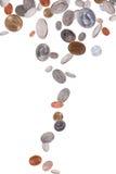 Monedas americanas que caen Imagen de archivo