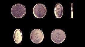 Monedas antiguas brillantes de alta resolución del metal fijadas stock de ilustración