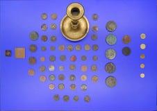 Monedas antiguas en museo Foto de archivo