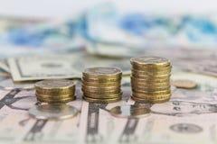 Monedas apiladas de diez rublos Imagen de archivo libre de regalías