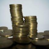 Monedas apiladas juntas Imágenes de archivo libres de regalías
