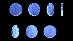 Monedas azules púrpuras brillantes de alta resolución del metal stock de ilustración