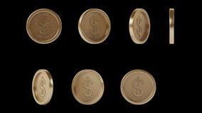Monedas brillantes de alta resolución del bronce del metal fijadas libre illustration