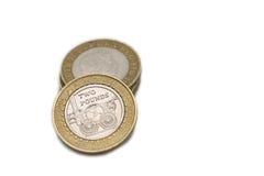 Monedas británicas £2 Foto de archivo libre de regalías