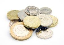 Monedas BRITÁNICAS Foto de archivo libre de regalías