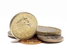 Monedas BRITÁNICAS Imagen de archivo libre de regalías