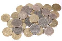 Monedas británicas del dinero en circulación Fotografía de archivo libre de regalías