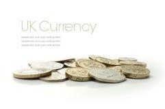 Monedas BRITÁNICAS del dinero en circulación Imagen de archivo libre de regalías