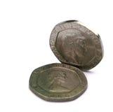 Monedas BRITÁNICAS 20p Imagen de archivo