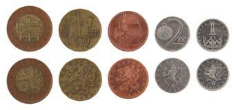 Monedas checas aisladas en blanco Imagen de archivo libre de regalías