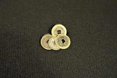 Monedas chinas del efectivo de la perforación rectangular fotografía de archivo libre de regalías