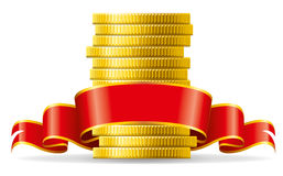 Monedas con el arqueamiento rojo ilustración del vector