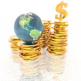 Monedas con el globo 3D libre illustration