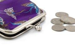 Monedas con el monedero chino Imagen de archivo