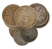 Monedas con Nicolás II de Rusia Imágenes de archivo libres de regalías