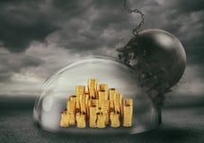 Monedas con seguridad dentro de una bóveda del escudo durante una tormenta que los protege contra una bola arruinadora Concepto d ilustración del vector