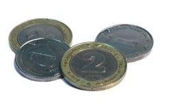 Monedas convertibles de la marca de Bonsnian, fondo blanco Fotos de archivo