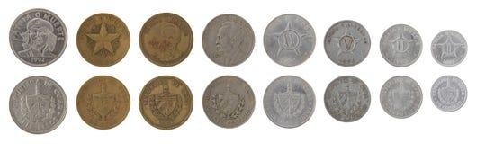 Monedas cubanas aisladas en blanco Foto de archivo libre de regalías