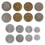 Monedas cubanas aisladas en blanco Imagen de archivo