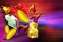Monedas, dólares, microprocesadores, dados que vuelan hacia fuera la forma una máquina tragaperras del casino stock de ilustración