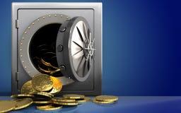 monedas 3d sobre azul Imágenes de archivo libres de regalías