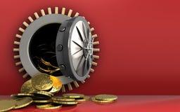 monedas 3d sobre rojo Imágenes de archivo libres de regalías