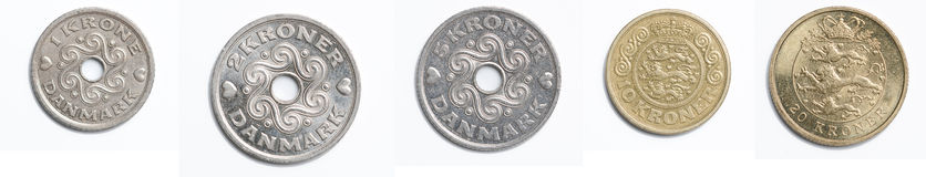 Monedas danesas Fotografía de archivo