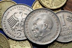Monedas de Alemania Imágenes de archivo libres de regalías