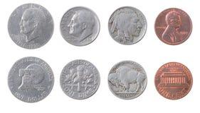 Monedas de Amenrikanskie. Dinero en circulación los E.E.U.U. Fotos de archivo