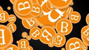 Monedas de Bitcoin que caen 2.a animación almacen de metraje de vídeo