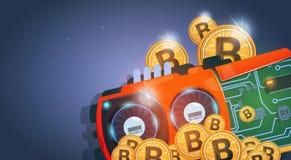 Monedas de Bitcoins y dinero de oro del web de Chip Curcuit Digital Currency Modern sobre fondo azul marino libre illustration