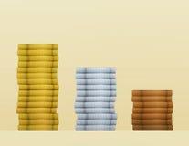 Monedas de bronce del oro, de la plata y del cobre Imágenes de archivo libres de regalías