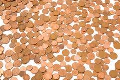 Monedas de bronce flojas Fotos de archivo libres de regalías