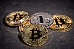 Monedas de BTC Bitcoin Imágenes de archivo libres de regalías