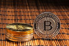 Monedas de BTC Bitcoin Fotografía de archivo libre de regalías