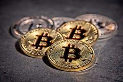 Monedas de BTC Bitcoin Imagenes de archivo