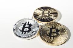 Monedas de BTC Bitcoin Foto de archivo