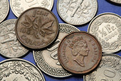 Monedas de Canadá Fotos de archivo libres de regalías