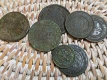 Monedas de cobre viejas del imperio ruso foto de archivo libre de regalías