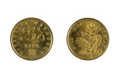 Monedas de Croacia en blanco Foto de archivo libre de regalías