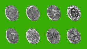 Monedas de Cryptocurrency en la plata, zcash, vechain, tron, tezos, correa, estelar, steem, ondulación stock de ilustración
