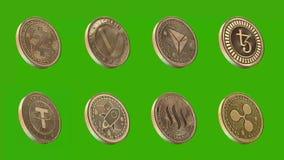 Monedas de Cryptocurrency, zcash, vechain, tron, tezos, correa, estelar, steem, ondulación libre illustration