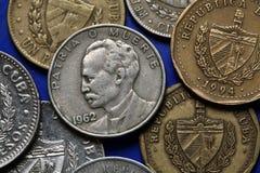 Monedas de Cuba Jose Marti Imagen de archivo libre de regalías