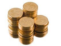 Monedas de dólar americano del oro aisladas Imagen de archivo